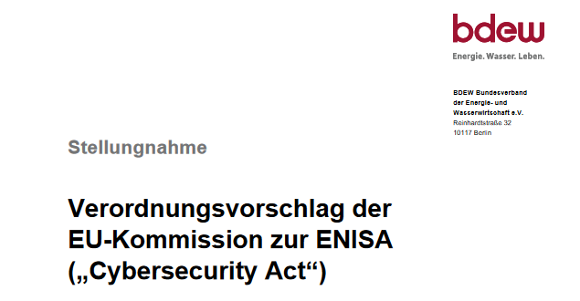Stellungnahme BDEW Cybersecurity Act