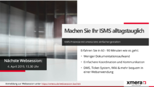 Websession xmera: isms 04.04.2019